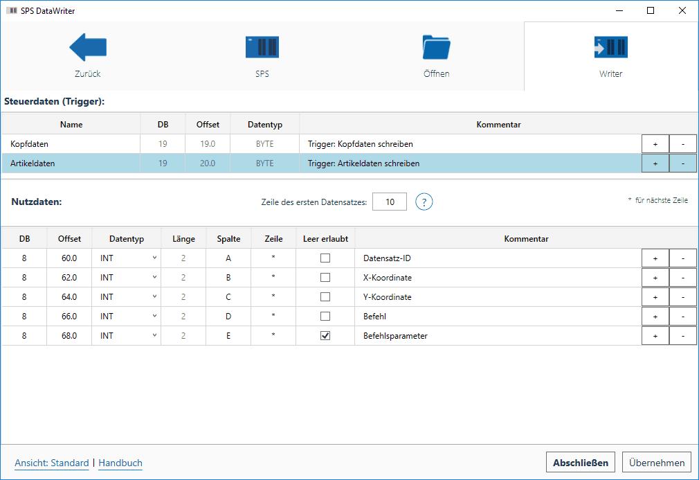 DataWriter Triggereinstellungen