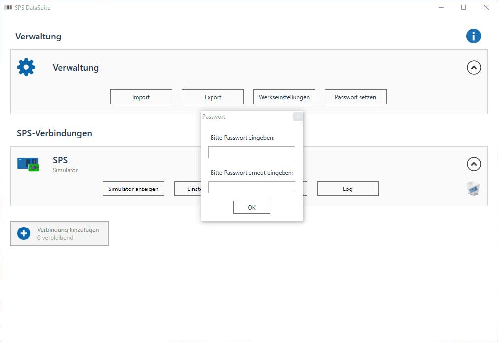 DataSuite 2.5 Passwort setzen