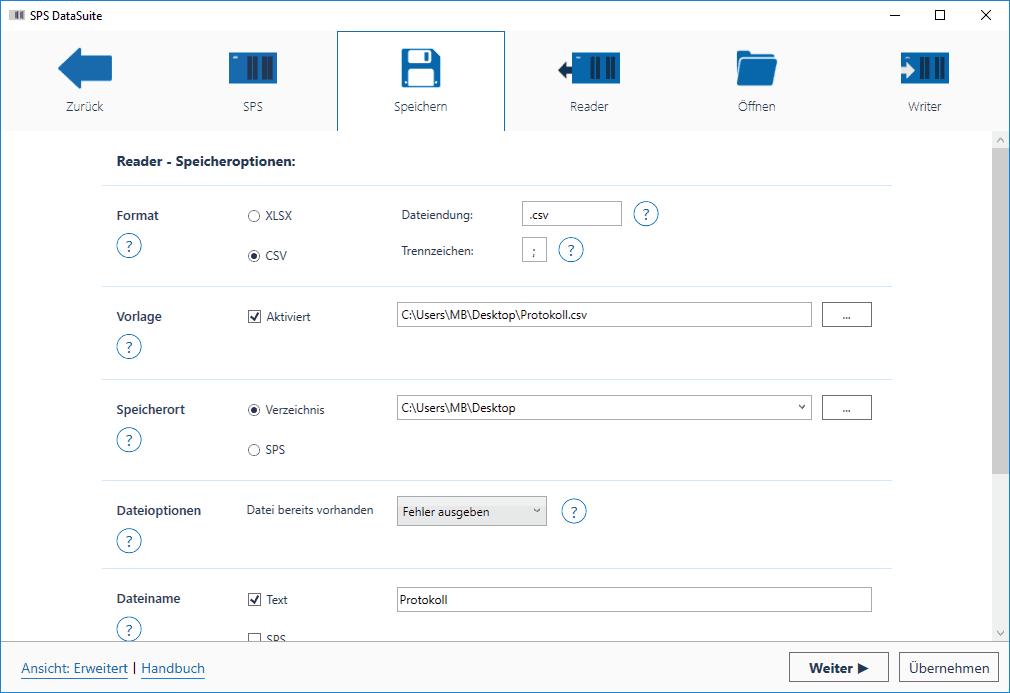 DataSuite 2.5 Speichern Erweiterte Ansicht