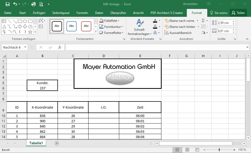 Ihr Logo im Excel-Protokoll