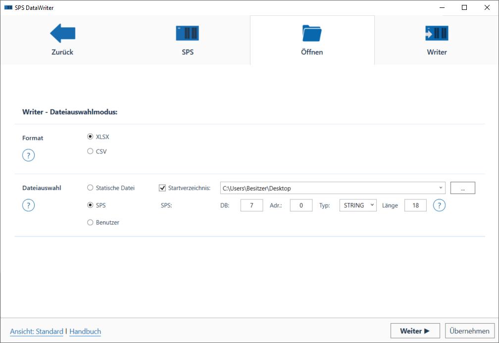SPSDataWriter Dateiauswahl