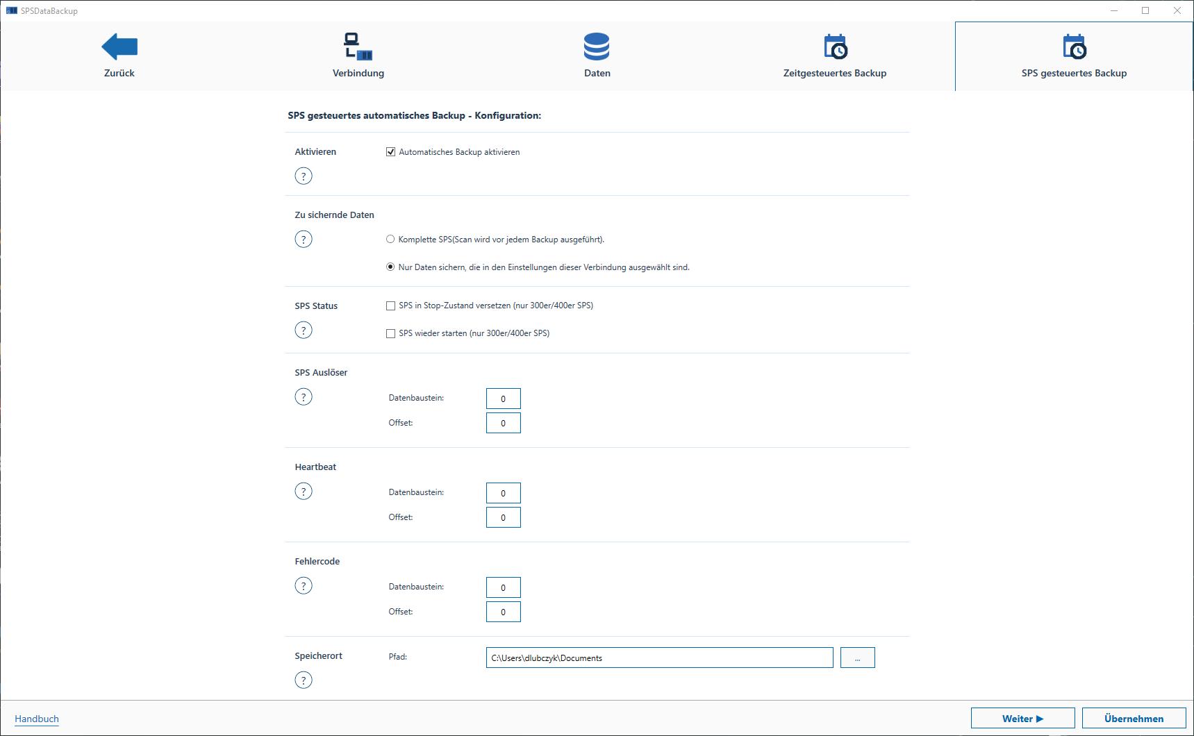 Die Konfigurationen des Automatischen Backups anpassen