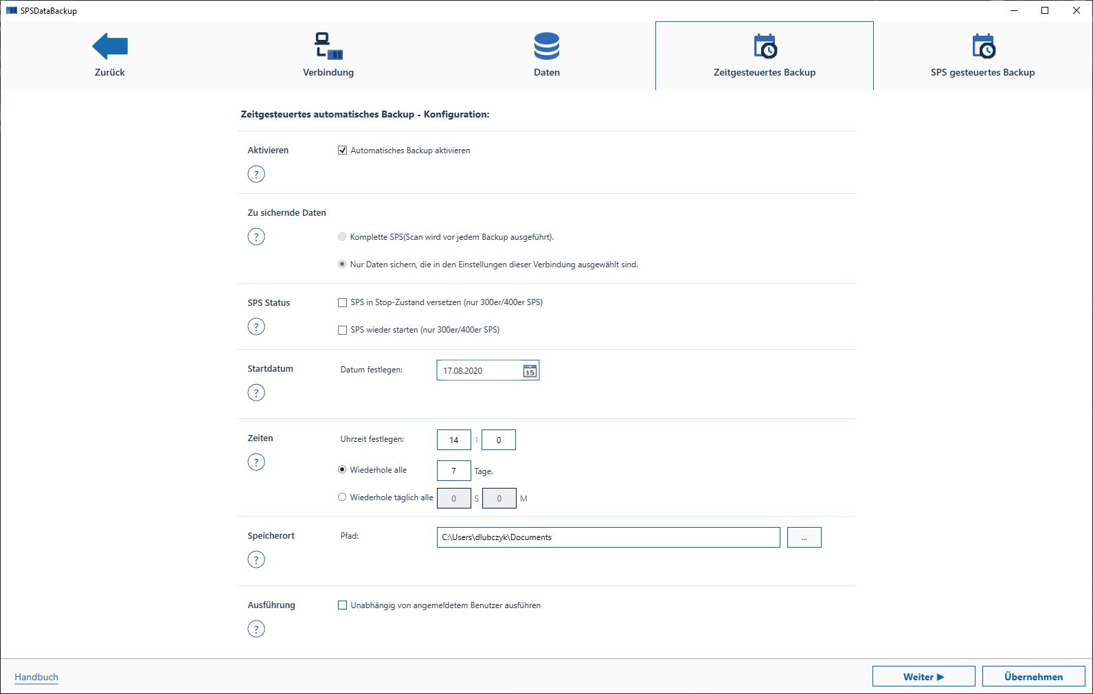 Backup von SPS Daten